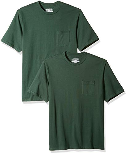 Pocket Tee Crew - Amazon Essentials Men's 2-Pack Regular-Fit Crew Pocket T-Shirt, Dark Green, Medium
