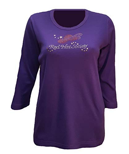 T-shirt Red Hat Ladies (Red Hat Society Logo Bling Purple Shirt Womens Scoop Neck (2X))