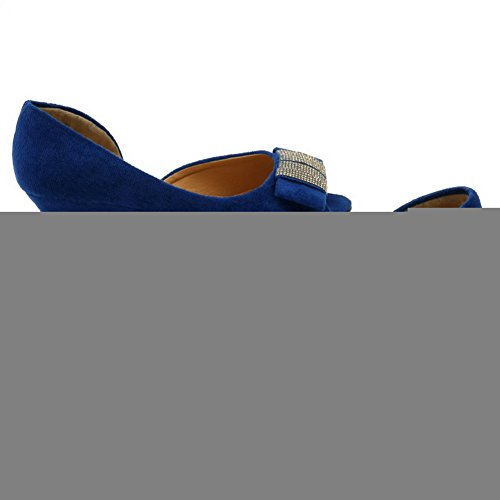 VogueZone009 Womens Open Toe Peep Toe Low Heels PU Frosted Solid Sandals with Wedge Blue fWzSScb0L1