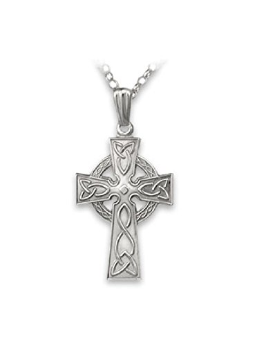 - Fado Celtic Cross Necklace Sterling Silver Single Sided 24 Inch Chain Made in Ireland