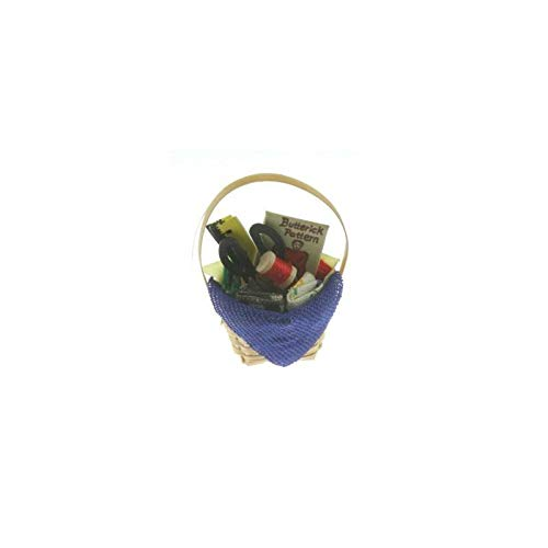 International Miniatures Dollhouse Miniature Sewing Basket IM65341