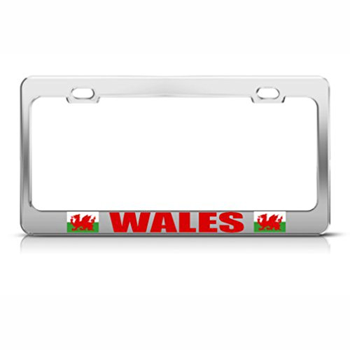Wales Flag Red Dragon Welsh Country Metal License Plate Frame Tag (Silver Welsh Dragon)