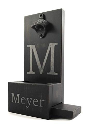 (Wooden Wall Mount Bottle Opener and Cap Catcher - Personalized- Monogram - Distressed)