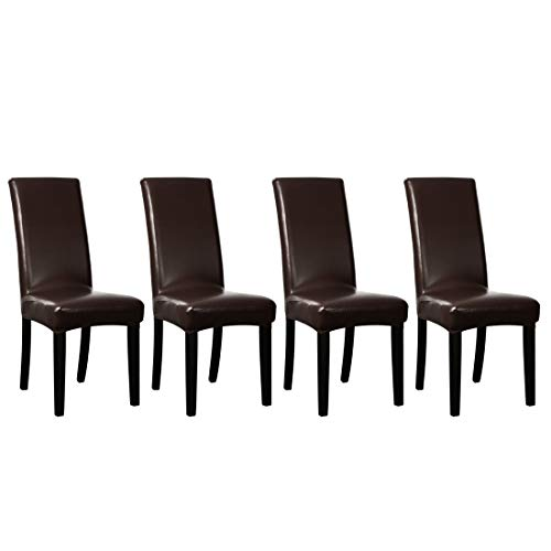uxcell Stretch Artificial Leather Shorty Dining Room Chair Covers Faux PU Fabric Slipcovers Dark Brown 4PCS