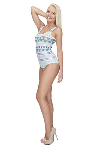 Body Fullprint Varios Modelos Lingerie Sport sin mangas elástico redondo Recorte All Over bfpmm Azteca