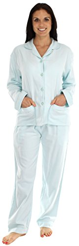 BSoft Women's Sleepwear Bamboo Flannel Long Sleeve Pajamas Solid Blue- Sml