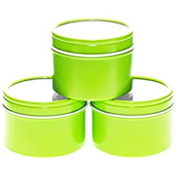 Mimi Pack 4 oz Deep Round Clear Window Tin Top Lime Green Metal Tins For Salves, Favors, Spices, Balms, Candles, Gifts Limited Run Series 24 Pack
