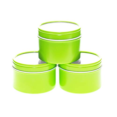 (Mimi Pack 4 oz Small Deep Round Tin Can Clear Window Top Lid Steel Containers For Favors, Spices, Balms, Gels, Candles, Gifts, Storage 24 Pack (Lime Green))