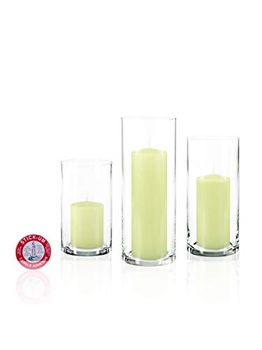 Yummi Set of 36 Slim Pillar Candles Cylinder Vases - Celery Green
