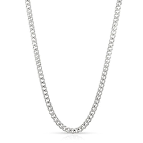 14k White Gold 2.5mm Solid Miami Cuban Curb Link Thick Necklace Chain 16'' - 30'' (22) by In Style Designz