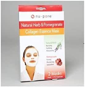 nu-pore NATURAL HERB & POMEGRANATE COLLAGEN ESSENCE MASK [2 Mask] 1 Natural Herbal And 1 Pomegranate