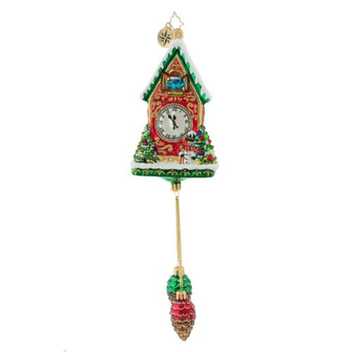 (Christopher Radko Pinecone Time Zone Cuckoo Clock Glass Ornament)