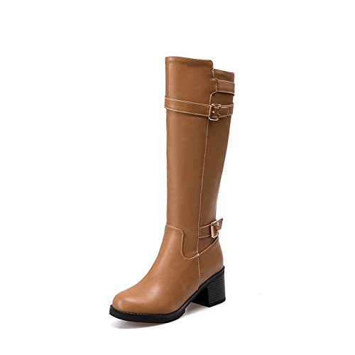 BalaMasa Womens Zipper Boots Platform Urethane Boots Yellow