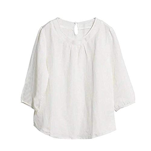 Women Cotton Linen Casual Loose Solid White 3/4 Sleeve Loose Blouse T-Shirt Top