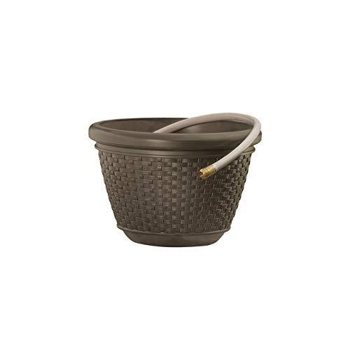 Suncast HPW100 Mocha Wicker 100-Foot Capacity Hose Pot (Pots Lids Hose With)