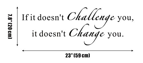 If it Doesn't Challenge You. It Doesn't Change You GYM Fitness Mural Quote Saying Inspirational Vinyl Wall Sticker Decals Transfer Words Lettering Decor Uplifting