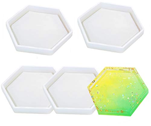 4 Pack Hexagon Silicone Coaster Molds - Silicone Resin Mold, Clear Epoxy Molds for Casting with Resin, Concrete, Cement and Polymer Clay