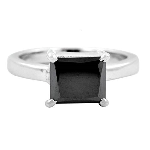 - skyjewels 3 Cts Princess Shape Black Diamond Solitaire Ring 925 Sterling Silver
