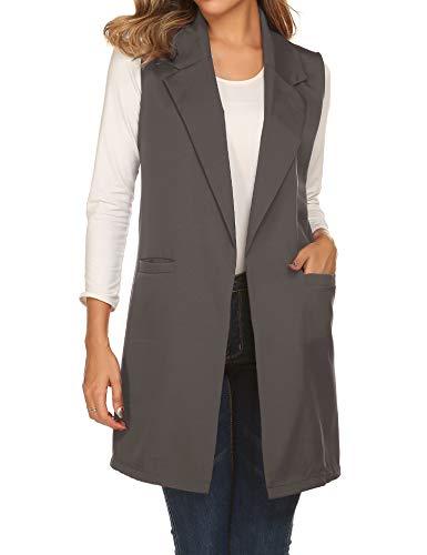 Showyoo Women's Long Sleeveless Duster Trench Vest Casual Lapel Blazer Jacket Dark Gray, X-Large