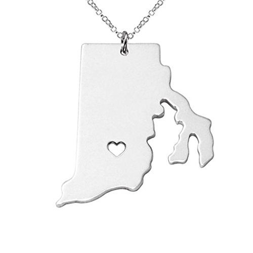 Joyplancraft RI State Necklace,Rhode Island State Charm Necklace,State Shaped Necklace Custom Necklace With A Heart (Silver)