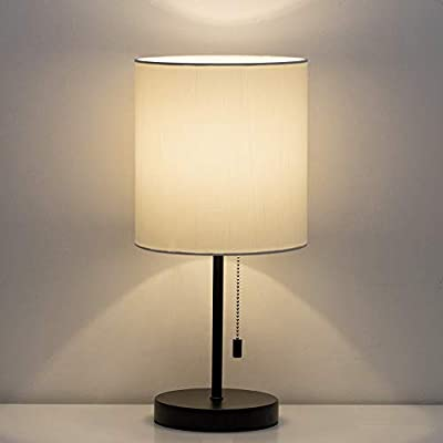 HAITRAL Table Lamp with Fabric Shade Pull Chain Switch
