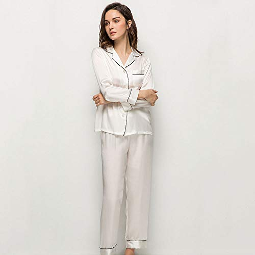 AMY Pajamas for Women, 100% Silk Satin Smooth Anti-Wrinkle Hypoallergenic Long-Sleeved Trousers Luxury Pajamas Set 2 Piece Home Hotel Travel - Summer,White,M