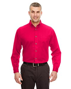 UltraClub Men's Long-Sleeve Cypress Denim with Pocket (Red) (Large)