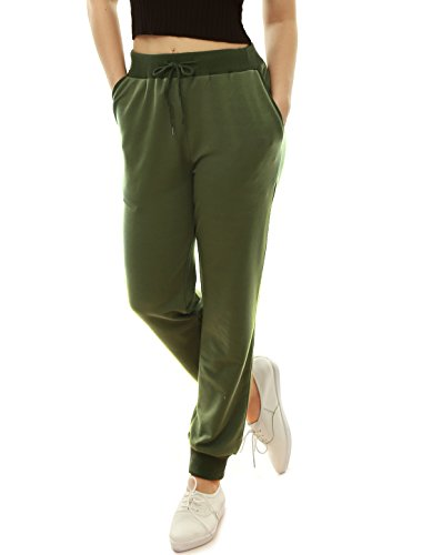 Slant Pocket (Allegra K Women's Drawstring Waist Slant Pockets Casual Pants Jogger Green L)