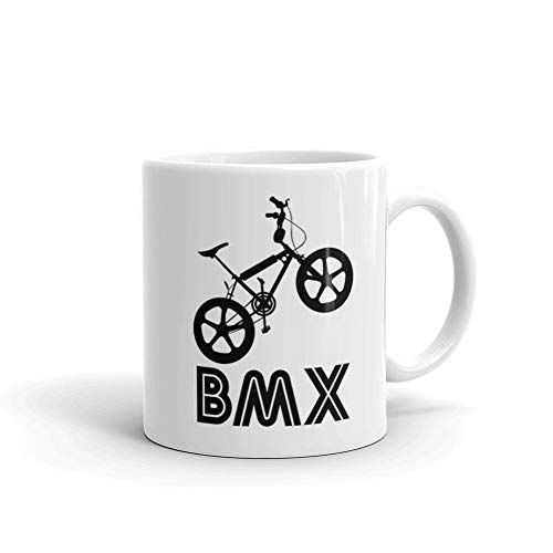 BMX Silhouette Black 11oz White Ceramic Coffee Tea Mug Gifts for Bikers Motorcycle Mountain Bike Riding Lovers Road Trip Partner Cycling ()