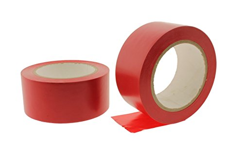 2pk 2'' RED Durable Rubber Adhesive PVC Vinyl Sealing Coding Warning OSHA Caution Marking Safety Electrical Removable Floor Tape (1.88IN 48MM) 36 yard 7 mil by WhiteCore