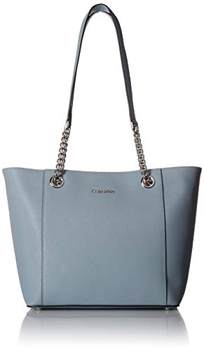 Calvin Klein Hayden Saffiano Leather East/West Top Zip Chain Tote, twilight