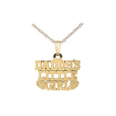 15 Inches 14K Yellow Gold Daddy's Little Girl Pendant Necklace