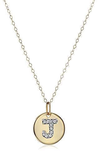 "Duragold 14k Gold Diamond Disc Initial ""J"" Pendant, 18″"