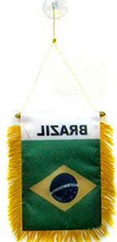 Kaputar Brazil Mini Banner Flag Great for CAR Home Mirror Hanging 2 Sided (FI) | Model FLG - 7864 (Brazil Flag Car)