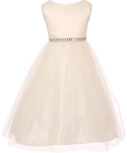 Little Girls Rhinestone Waistband Tulle Special Flowers Girls Dresses Ivory 2