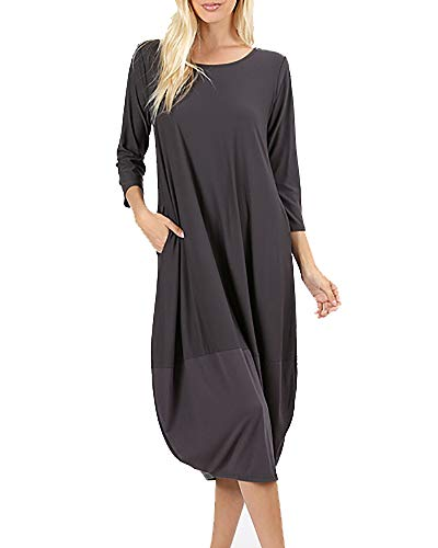 (NiuBia Womens Bubble Hem Dresses 3/4 Sleeve Scoop Neck Knee Length Stitching Casual Dress with Pockets Dark Grey)
