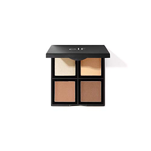 e.l.f., Contour Palette, 4 Shades, Customizable, Easy to Apply, Sculpts, Shades, Brightens, Light/Medium, Infused with…