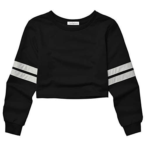 Perfashion crop top sweaters cropped sweatshirt striped sweatshirt t shirt crop crop tops tees striped crop top loose crop top crop tee shirt striped