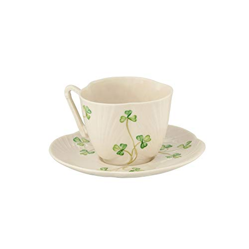 Belleek Pottery Harp Shamrock Cup and Saucer, Green/White