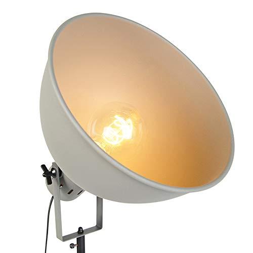 QAZQA Industriel Lampadaire//Lampe de sol//Lampe sur Pied//Luminaire//Lumiere///Éclairage industriel avec tr/épied en bois avec ombre grise Laos//Acier Gris,Marron Autres//int/érieur//Salon