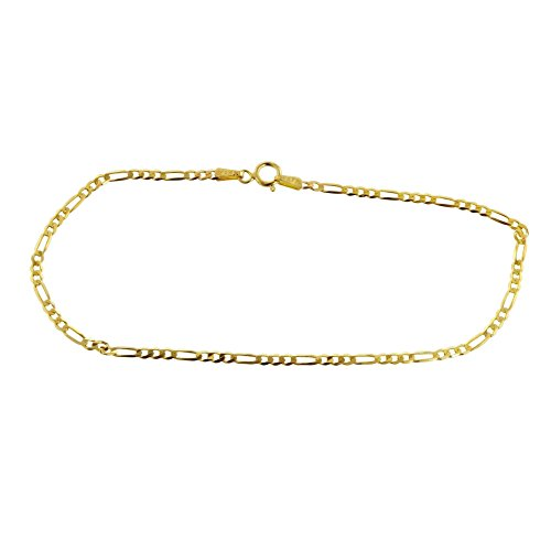 Gold Anklet Designer (10K Yellow Gold 2.3mm Figaro 3+1 Link Chain Anklet- Multiple lengths available-Made In Italy (10))