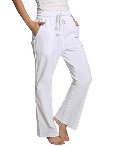 ANGGREK Women Plain Wide Leg Stretch Trousers Full Pants Plus Size White - Linen White Stretch Pants