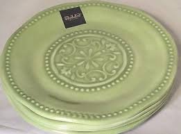 Il Mulino Designer Melamine Indoor / Outdoor Heavyweight Round Spanish Hobnail Medallion Dinner Plates Set of 4 MINT GREEN