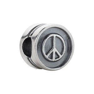 Sterling Silver Kera Peace Sign Cylinder Bead