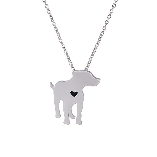 SUNSCSC Cute Pet Dog Pendant Necklace Stainless Steel I Love My Dog Lover Heart Animal Charm Jewelry Gift (Dog 752)