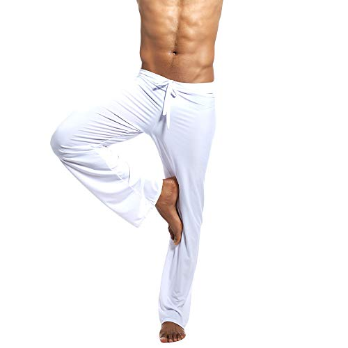(Men's Black Home Pants Yoga Pants Tie-up Comfortable Straight Full Length Trousers Elastic High Waist Yoga Drawstring Pants)
