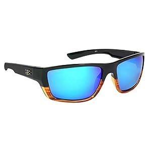 Calcutta Shock Wave Sunglasses (Wood Grain Frame w/ Blue Mirror Lenses)