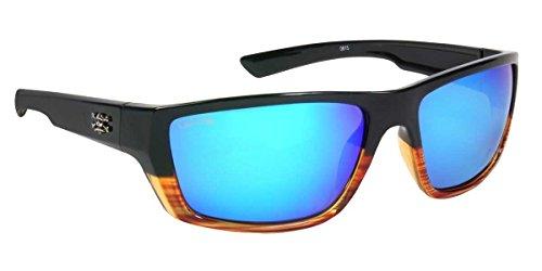 Calcutta Shock Wave Sunglasses (Wood Grain Frame w/ Blue Mirror - Affordable Sunglasses Polarized