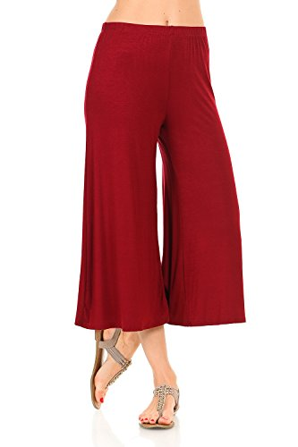 iconic luxe Women's Elastic Waist Jersey Culottes X-Large Burgundy