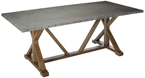 Webber Dining Table with Metal Top and Nailhead Trim Driftwood Collection Trestle Dining Table